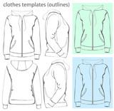 Vector. Women's hooded sweatshirt. Outlines