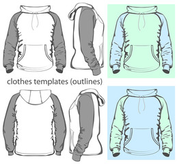 Vector. Men's hooded sweatshirt. Outlines
