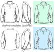Vector. Men's polo-shirt design template. outline