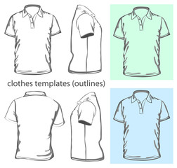 Vector. Men's polo-shirt. Outline