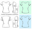 Vector. Women's t-shirt design template.outline