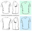 Men's t-shirt design template v-neck. Outline