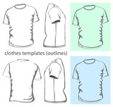 Vector. Men's t-shirt design template. Outline