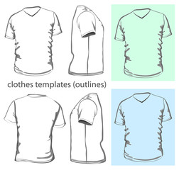 Men's t-shirt design template v-neck. Outline