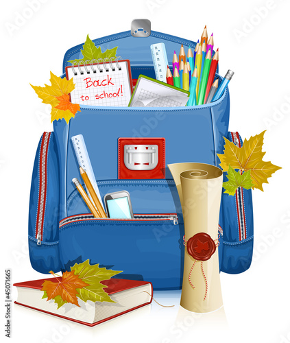 Back to school! school bag with education objects