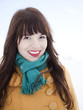 Orem, Utah, USA, young woman in turquoise scarf and red lipstick smiling, portrait