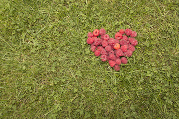 Heart of raspberries on the grass
