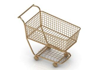 Gold shopping trolley