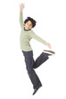 """""""Boy (8-9) jumping, against white background"""""""
