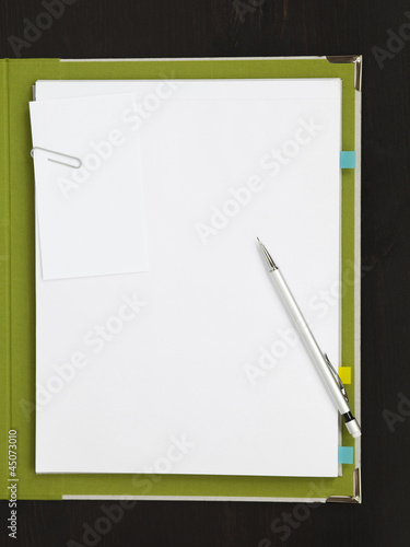 Pencil and paper clip on blank paper with file