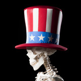 Human skeleton wearing Uncle Sam Hat against black background