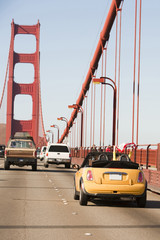 """USA, San Francisco, California, Traffic moving on Golden Gate Bridge"""