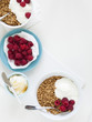 """Healthy breakfast with cereals and fresh raspberries, studio shot"""