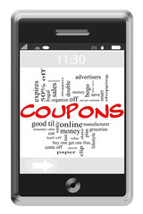 Coupons Word Cloud Concept on Touchscreen Phone