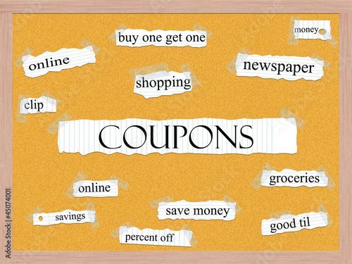 Coupons Corkboard Word Concept