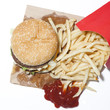 """French fries and hamburger, studio shot"""