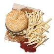 """French fries and hamburger, studio shot"""
