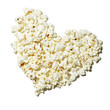 """Popcorn formed in heart shape, view from above, studio shot"""