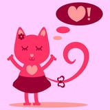 Cute kitty girl dreaming of love