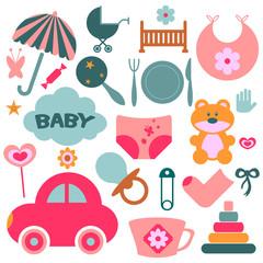 Set of design elements for babies