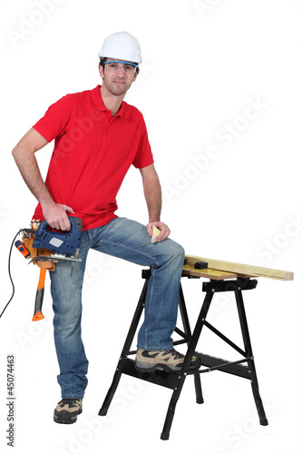 Carpenter with band saw