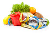 fitness dumbbells and fruits