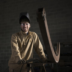 """USA, Utah, Orem, portrait of male welder in workshop"""