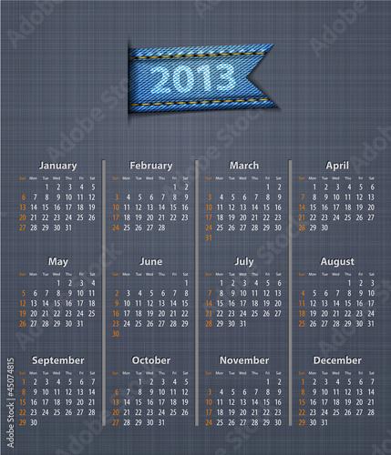 Calendar 2013 linen back jeans inset