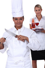 chef and waitress her