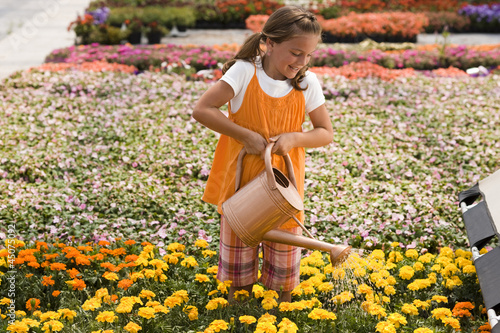 """USA, Utah, Salem, girl (8-9) watering flowers"""