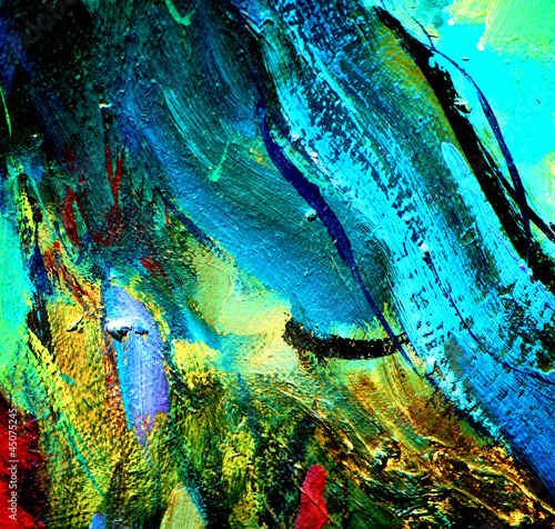 Obraz w ramie abstract chaotic painting by oil on canvas, illustration, backgr