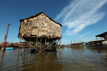 Inle lake floating village bamboo house on stilts, Myanmar
