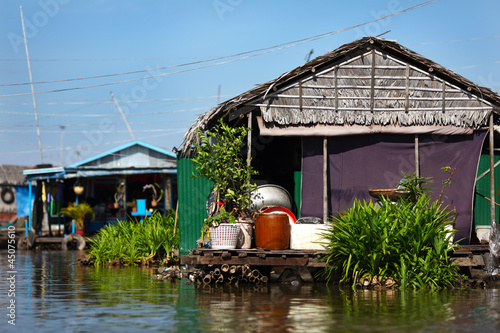 Floating village and fishermen's house at Inle Lake, Myanmar