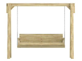 Wooden garden swing bench