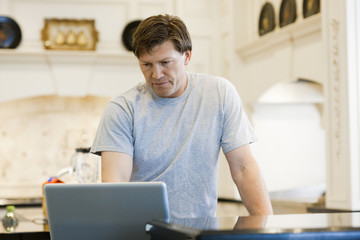 """USA, Utah, Alpine, mature man standing and looking at laptop"""