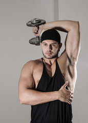 Workout with curls in gym