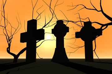 Graveyard in sunset and tree silhouette.