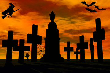 Graveyard in sunset and witch silhouette.