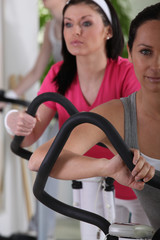 Women on cross trainers