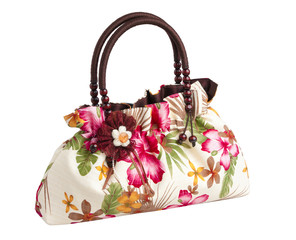 Floral pattern lady hand bag, isolated on white background.