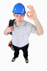 Electrician making OK gesture