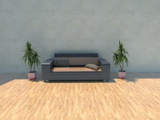Sofa with plants