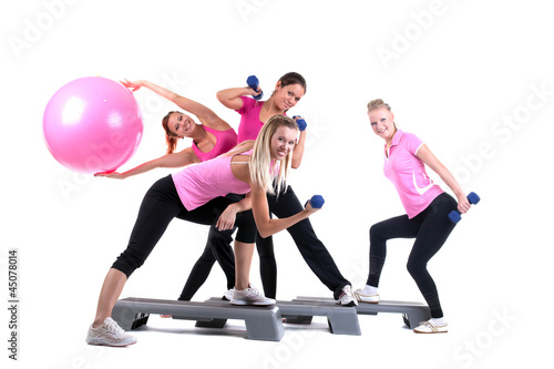 group of fitness instructors with accesories - 45078014