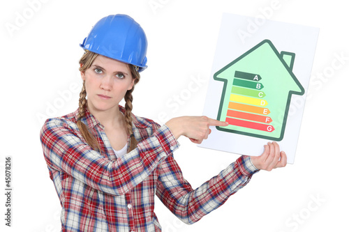 Stern tradeswoman giving an energy efficiency rating of G