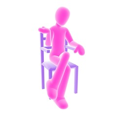 pink person sitting A