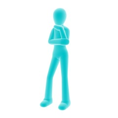 blue person think