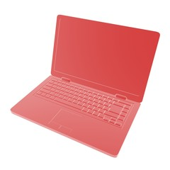 red laptop computer