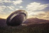 UFO crashing on a valley