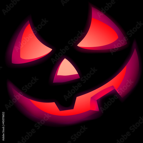 Jack O Lantern pumpkin illuminated green. EPS 8