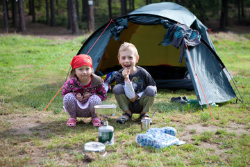 Brother and Sister camping